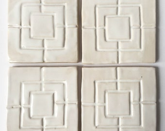"""4"""", Set of 4, SQUARES CONNECTED, Stoneware, Made in USA, Artisan, Custom, ooak, Bath, Kitchen, Floor, Patio, Pool, Peace"""