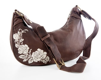 Womens brown leather handbag with roses embroidery