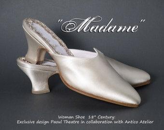 "MULES 18 century shoes MOD. 725_50T - Marie Antoinette shoes mules -  satin  ivory - 18 th. ciabattina ""mules""  settecento donna raso avorio"