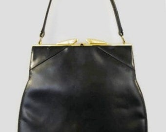 Vintage 50's Cortini Creation Black Leather Purse Handbag w/ Gold Hardware Made in Canada