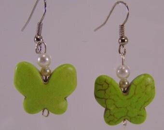 Lime Green Butterfly Earrings