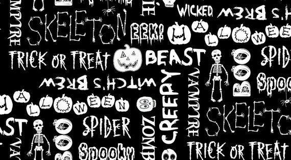 Boo Crew Spooky Words GLOW IN DARK Halloween Fabric