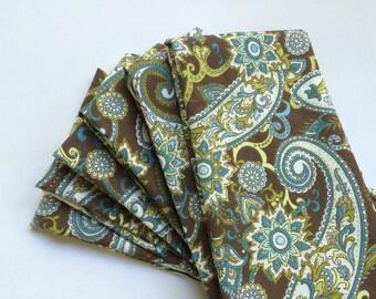 Set of 6, large cloth napkins, Thanksgiving  napkins , brown paisley napkins , brown and blue napkin