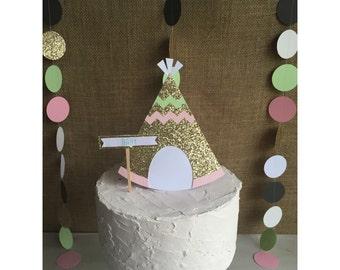 Teepee Cake topper, boho cake topper, aztec tribal cake topper, tribal cake topper, aztec baby shower, teepee baby shower, teepee decor