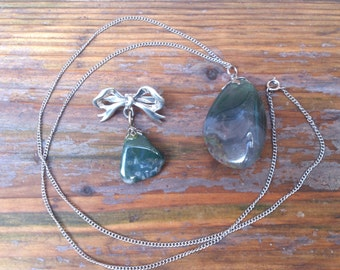 vintage tumble stone moss agate pendant and brooch