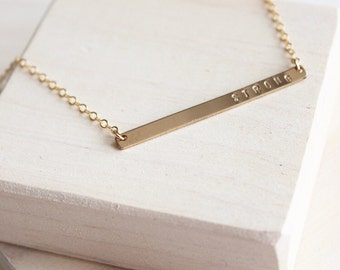 Skinny Stamped Bar Necklace | Personalized Necklace | 14k Gold Filled Necklace