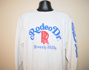 80's Rolls Royce Rodeo Drive Beverly Hills Rare Vintage Classic Luxury Car Brand Los Angeles California Location Promo Sweatshirt