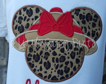 Minnie Mouse Safari Embroidered Shirt- Minnie Mouse Applique- Custom Disney Shirt- Vacation- Animal Kingdom Shirt- Red Bow