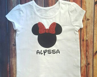 Girls Personalized Minnie Mouse name Disney shirt
