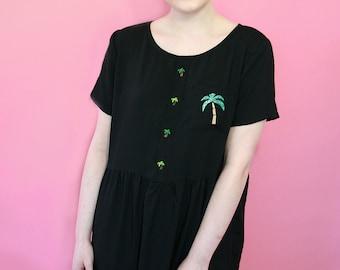 Black Palm Tree Slouch Dress