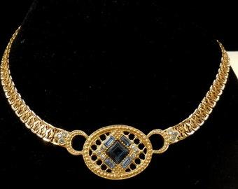 Vintage Shades of  Blue Rhinestone Necklace