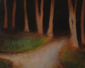 """The Woods 5""""x5"""" Oil on birch wood"""