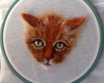 2D Needle Felted Picture, Cat, Ginger, Chicktin creations