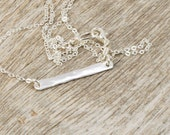 Small sterling silver bar necklace