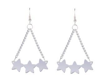 Star Cluster Earrings - Silver Mirror Acrylic Dangle Earrings