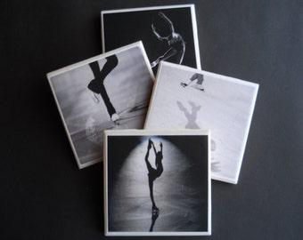 Ice Skating Coasters ~ Figure Skating ~ Sports Coasters ~ Ceramic Tile Coaster ~ Figure Skater Gift ~ Ice Skater Gift ~ Drink Coasters
