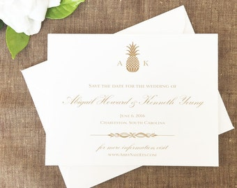Pineapple Save the Dates, Pineapple Monogram Save the Date