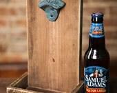 Beer Bottle Opener and Cap Catcher - Brown
