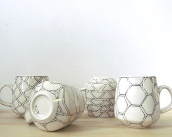 Set of Four Black and White Geometric Mugs. Ceramic mugs. Bold. Graphic Modern. porcelain. Kitchen. Gift. Handmade mugs.  MADE TO ORDER.