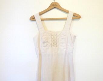 Cream Natural Fiber Renaissance Dress / Gunne Sax Like Maxi Dress