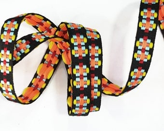 2 YARDS Colorful Tribal Ethnic Knitted Aztec Ribbon Woven Trim
