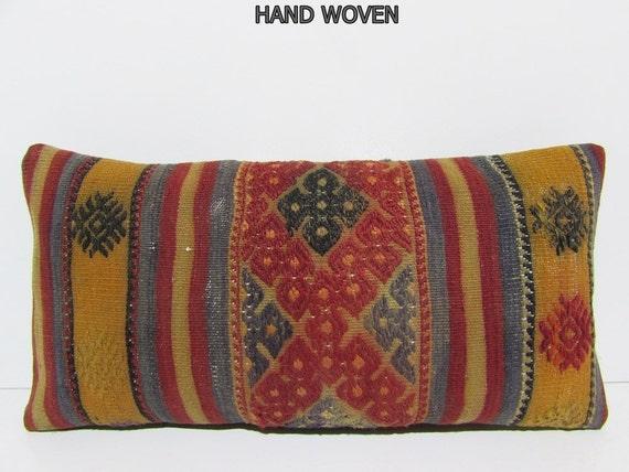 kilim lumbar pillow red decorative pillow by DECOLICKILIMPILLOWS