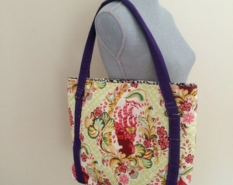 Parisian Print Tote, Large Tote Purse, Quilted Purse,
