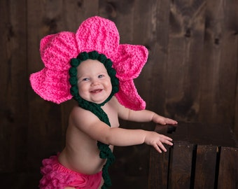 Baby flower costume - Halloween baby costume  - Flower bonnet - Spring baby photo prop - flower photo prop - baby girl photo prop