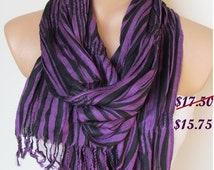 Purple and Black Long Scarf -Striped Pattern Shawl Scarf-New Season-Necklace-Cowl- Neck warmer- Infinity Scarf-Mother's Day Gift