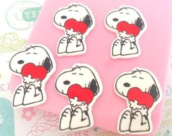 19mm Snoopy Flatback Resin Cabochon 5 pcs
