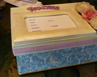 "Keepsake box for a Princess (9""x7""x4"") (New Baby),(Little Girl) or a  (Big Girl)"