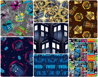 Doctor Who Tardis Phone Booth, Madman, Whorp, Cotton Fabric by Springs Creative! [Choose Your Cut Size]