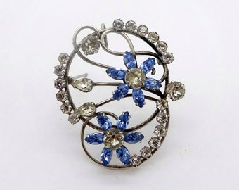 Vintage STERLING RHINESTONE PENDANT Pin Carl Art Sterling Silver Clear & Blue Rhinestone Floral Pin Pendant