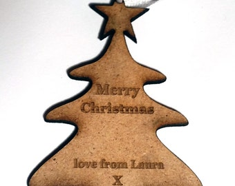 Personalised Christmas Gift Tag Laser Cut mdf