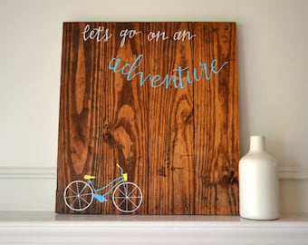 Reclaimed Wood Art Sign: Vintage Bike Let's go on an Adventure Aqua and Yellow