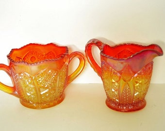 A Heirloom, Carnival Glass, Sugar and Creamer from Indiana Glass