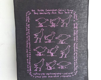 PURE LINEN TEATOWEL, Purple Swamphen, Hand screen printed.