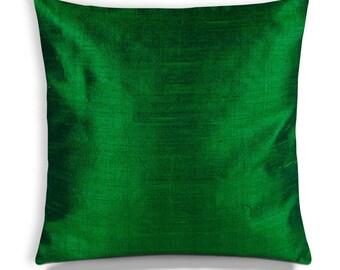 Emerald Green Silk Pillow Cover-Emerald Green Silk Cushion Cover-Decorative Throw Pillow