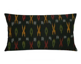 Olive and Yellow Handwoven Ikat - Cotton Lumbar Pillow Cover - Decorative Lumbar Pillow - Ikat Cotton Lumbar PillowCover