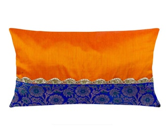 Egg Plant Purple and Gold Silk Lumbar Pillow Cover - Handmade Silk Pillow - Decorative Pillow Cover - Living Room Decor - Cushion Cover