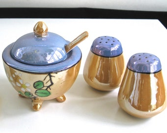 Vintage Lustreware Set Salt Pepper Footed Condiment Jar with Lid and Spoon • Blue Peach • Signed Japan