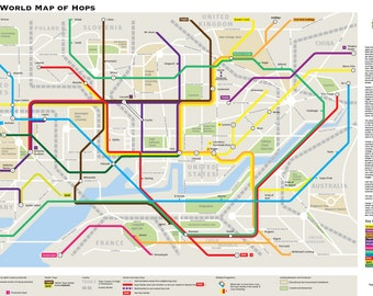 Beer world map etsy beer poster world of hops subway map of beers limited edition gumiabroncs Gallery