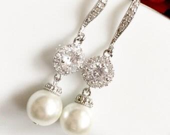 Bridal Earrings, Cubic Zirconia Ear Posts, Cubic Zirconia Crystal Tear Droo Bridal rhinestone dangle earrings,crystal tear drop earrings