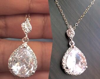bridal jewelry set,round cz cler crystal jewelry,weddings-bridal tear drop necklace,tear drop errings