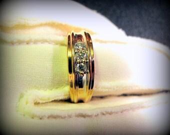 3 equal .10pt Diamond Art Deco Wedding or casual gold band .30pt total 1/3 Carat
