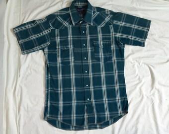 Vintage 1970's Men's Blue Plaid Wrangler Short Sleeve Button Down