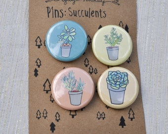 Succulent Plants, pin button badges, magnets hand drawn illustrations