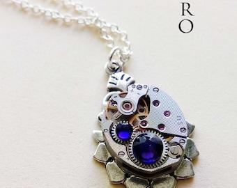 Steampunk necklace The Helios purple - steampunk jewellery - steampunk jewelry - watch necklace  woman steampunk necklace  victorian jewelry
