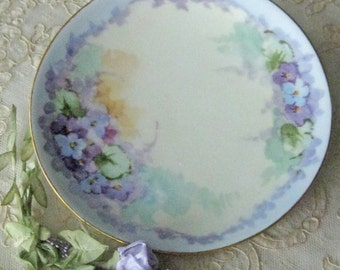 Small Hand Painted Cabinet Plate - H& Co. Bavaria - Violets