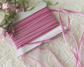 """Ombre (Fuchsia to Pink) Ribbon Trim 1/8"""" - Ribbonwork, Embroidery, Crafts, Sewing, Miniatures (3 yd. cuts)"""